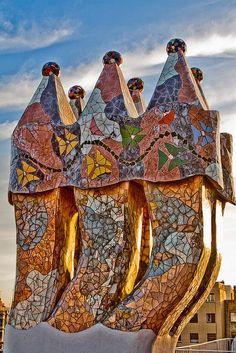 Rooftop Sculpture at the Casa Batlló (Gaudi), Barcelona