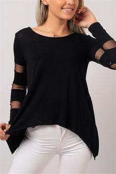 Tül Detay Siyah Bayan Bluz 6747B Tunic Tops, Women, Fashion, Moda, Fashion Styles, Fashion Illustrations, Fashion Models