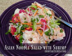 Asian Noodle Salad With Shrimp - Because it's made with rice noodles or glass noodles (bean thread noodles), it cooks up in only minutes. Asian Noodles, Rice Noodles, Shrimp Salad, Noodle Salad, Kitchen Recipes, Food To Make, Food Ideas, Salads, Gluten Free
