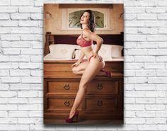 Gift ideas for men. Cherry Ripe Pinup Print.  Sexy Red Lingerie Photo Art print, boudoir wall art by Velvet DeCollete