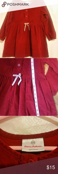 Hanna Anderson little girl dress Dark red fine wale corduroy dress with 3 front buttons with ruffle placket, long sleeves. This cutie is from my granddaughter Chrissy closet bought for her 2 years ago. Is 22 inches long from top to bottom Hanna Andersson Dresses Casual