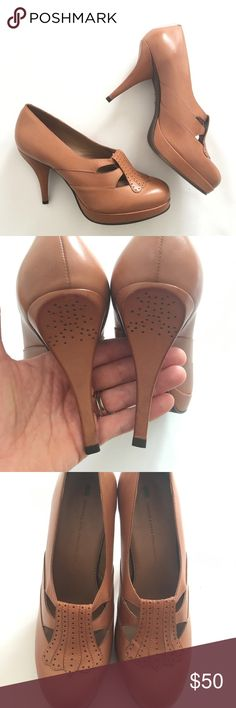 Schuler and Sons Philadelphia heels Pristine cognac leather heels with a foxy librarian twist. Perforated heel detailing. Worn a handful of times...no noticeable scuffs except on the soles. Shoes Heels