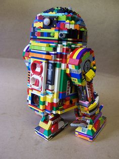 Rainbow LEGO R2-D2 this is so great...the rainbow is awesome.