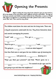Fill In The Blank Christmas Worksheet From Twistynoodle