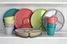 Vintage Picnic Dishes Sterilite Plastic Divided by TheBeetlesKnees ...grew up with these, classic 50's MCM color scheme