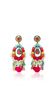 Ranjana Khan earrings feature an open tear drop shape with chiffon covered crystals, turquoise and pom pom fringe, and pearl accents