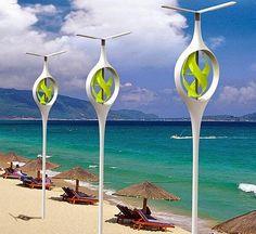 Proyecto para iluminar las playas de noche con energía eólica. | Energias Renovables y Ambiente
