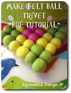How to make felt ball trivet- PDF TUTORIAL- Felt ball pot holder DIY (3.00 EUR) by TaikaLand