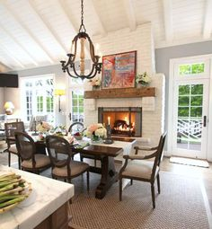 Loving this eating area and fireplace. So homey.