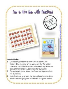 $1.00  A Not So Wimpy File Folder Game: Fun in the Sun with Fractions  image 2