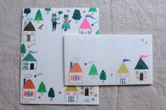 Cat Washi Letter Writing Set   Animal Washi Letter Set   Mino Washi Letter Writing Set -  12 letter papers - 4 envelopes  - 1450