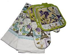5 Piece Spring Butterflies Flower Floral Set with Potholders Oven Mitt  Towels * To view further for this item, visit the affiliate link Amazon.com.