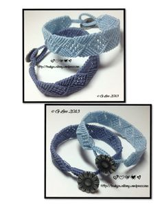 A couple more micro macramé bracelets, I really liked the first bronze coloured version I made of this bracelet so made a couple more in two shades of blue. The bracelets are made from C-Lon…