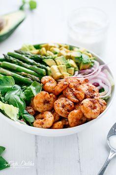 Blackened Shrimp, Asparagus and Avocado Salad...PERFECT!