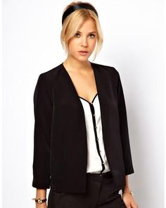 ASOS Cropped Soft Blazer - You'll exude sophistication in this soft black blazer. With an artsy vibe all its own, this blazer gives you liberties to make unexpected pairings.
