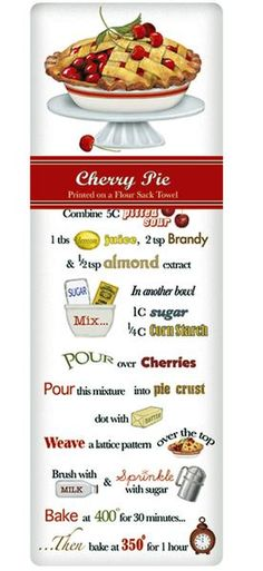 We cherish that great American textile; the dish towel. Designed by Mary Lake Thompson this one features a bright and bold Cherry Pie Recipe!
