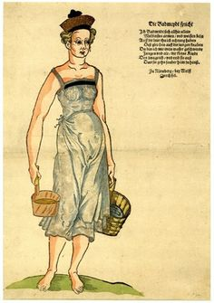 1585. Broadside of a Nuremberg bath attendant; with a hand-coloured woodcut of a lightly dressed female holding two pails of water, and with lette...