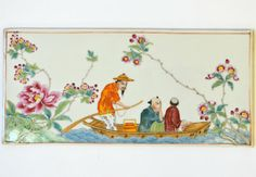 Famille Rose porcelain plaque enamelled with figures in a boat sailing amidst flowering prunus, China early Cent. Chinoiserie, Painted Porcelain, Hand Painted, Art Asiatique, China Painting, Fantasy Landscape, Tea Sets, Chinese Art, Needlepoint
