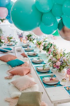 colorful and whimsical wedding ideas - photo by Beck Rocchi http://ruffledblog.com/balloon-filled-party-inspiration-at-a-pandora-brunch