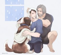 Detroit become human Hank, Connor and Sumo By: @umkyuri83