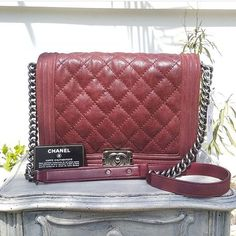 aa5b6a0da #Chanel Maroon Soft Aged Leather Boy Large Aged SHW Condition: Excellent  (card/