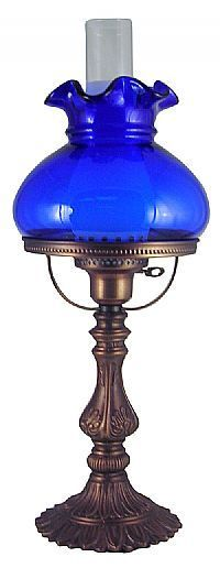 Cobalt blue glass Student Lamp by Fenton, USA Antique Oil Lamps, Vintage Lamps, Vintage Lighting, Fenton Lamps, Fenton Glassware, Cobalt Glass, Cobalt Blue, Kerosene Lamp, Hurricane Lamps