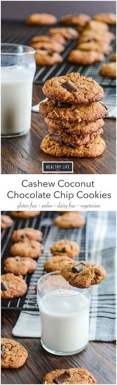 Cashew Coconut Chocolate Chip Cookies {paleo + gluten free} - A Healthy Life For Me
