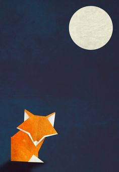 Origami Fox and Moon