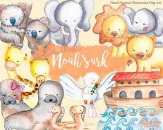 Ark Clipart, Noah's Ark Clip Art, Ark Animals clipart, Religious clipart, pigeon of peace, watercolor ark baptism invitations diy
