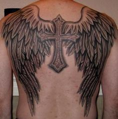 Angel Wings with Gothic Cross Angel Wings Tattoo
