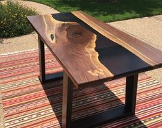 Mesa de Berns (resin River Table) Rio epoxy resin table made with a walnut slab cut in the middle and … Resin Furniture, Modern Home Furniture, Dining Furniture, Furniture Ideas, Furniture Stores, French Furniture, Furniture Online, Cheap Furniture, Luxury Furniture