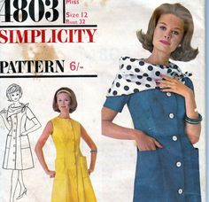Vintage 1960s Sewing pattern Dress Size 12 by allthepreciousthings, $9.00