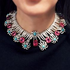 A bold and stunning rubellite tourmaline, turquoise and diamond 'Hedges and Rows' necklace by Jean Schlumberger for Tiffany & Co. An iconic design from the Estate of Carroll Petrie. High Jewelry, Jewelry Accessories, Jewellery, Tiffany And Co, Tiffany Blue, Chanel Jewelry, Collar Necklace, Indian Jewelry, Bridal Jewelry