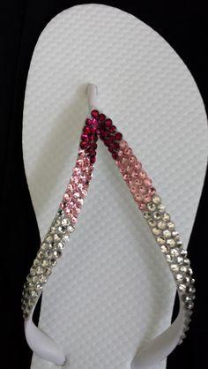 Swarovski Rhinestone Crystal Bridal Flip Flops Pink  by IslandToes www.etsy.com/shop/IslandToes