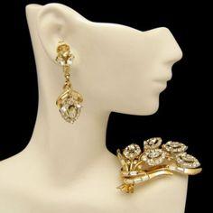 CROWN-TRIFARI-Pat-Pend-1950s-Rhinestone-Brooch-Pin-Earrings-Set-Rare-Fabulous