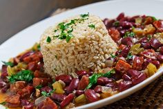 Cajun Red Beans and Rice not sure if the andouille sausage is gluten free but I will be getting a gluten free sausage