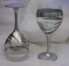 Chrome Hand painted wine Glasses! perfect for New Years Eve!