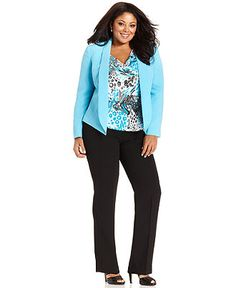 b913bf4ee2997b Tahari by ASL Plus Size Suit, Shawl-Collar Blazer, Printed Shell & Pants &  Reviews - Wear to Work - Women - Macy's