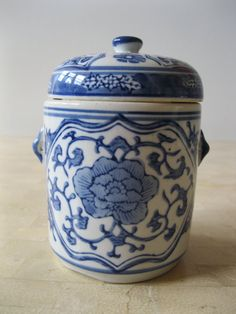 Blue and White Vintage Chinese Ginger Jar Hollywood by Stashboxx, $35.00