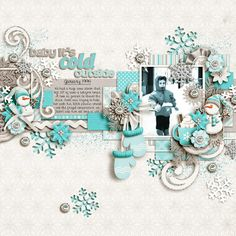 JDS_ColdOutside winter scrapbook page layout