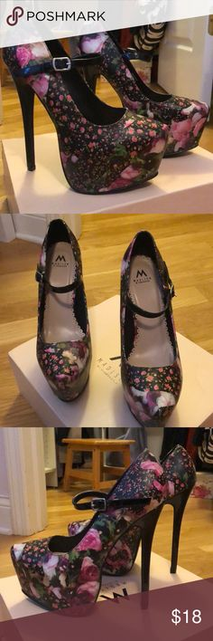 """""""Roxy"""" platform floral heels Brand new. Never worn. No flaws. Heel is too thin for my liking. Brand is Madison by ShoeDazzle. ShoeDazzle Shoes Platforms"""