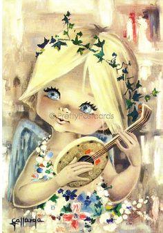 Vintage Gallarda postcard of a Big Eyed Girl - She's a little Angel, via Flickr.