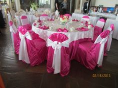 Fuschsia L'amour linen/chair covers with sheer Pearl Dots overlay