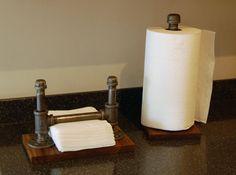 Industrial steel pipe napkin holder on walnut by LiveEdgeandCrafts