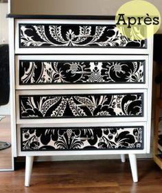 Transformer un meuble en mélamine avec du papier peint