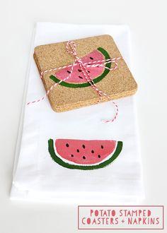 DIY Potato Stamped Coasters & Napkins - easy to make gift idea