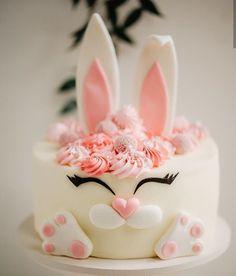 What a sweet bunny cake by petropaniuta! Bunny Birthday Cake, Easter Bunny Cake, Buttercream Cake, Fondant Cakes, Cupcake Cakes, Baby Cakes, Rabbit Cake, Funny Cake, Animal Cakes