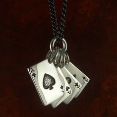 Playing Cards Necklace Antique Silver Aces Pendant by LostApostle, - If you like to gamble I tell you I'm your man