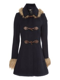 March Hare blue brown fur trimmed coat