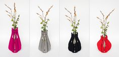 Flat pack laser cut felt vases: 5mm stiffened felt + glass test tube.